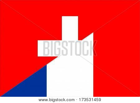 switzerland france neighbour countries half flag symbol
