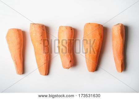 Peeled Carrots, Five Pieces Lying On The Whiteboard