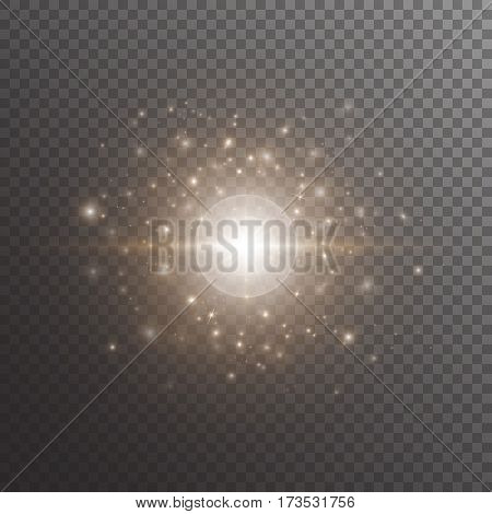 Bright background with dazzling lights. Glittering gold on a transparent backdrop.