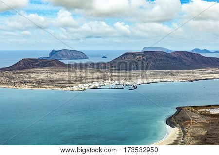 View Of The Island La Graciosa With The Town Caleta De Sebo