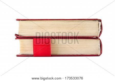 old book with bookmarks on a white background