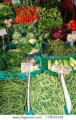 Fresh vegetables for sale on a market stall in the city centre Heraklion Crete Greece Europe.