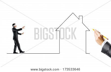 Young businessman walking forward on drawn line over white background