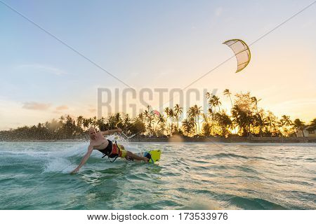 Kiteboarding. Fun in the ocean. Extreme Sport Kitesurfing