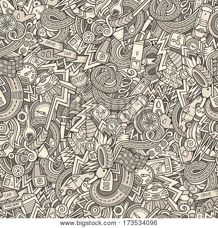 Cartoon cute doodles hand drawn Cars seamless pattern. Monochrome detailed, with lots of objects background. Endless funny automobile vector illustration