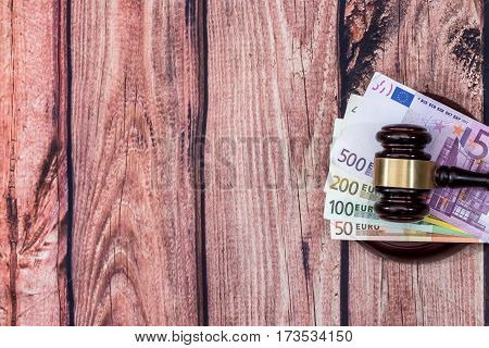 Judge Hammer And Euro Money On Desk.