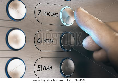 Man pushing an elevator button where it is written he word success. Successful career evolution concept. Composite image between a hand photography and a 3D background.