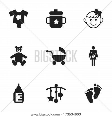 Set Of 9 Editable Baby Icons. Includes Symbols Such As Nursing Bottle, Small Dresses, Footmark And More. Can Be Used For Web, Mobile, UI And Infographic Design.