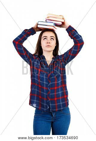 Woman holding book isolated on white background