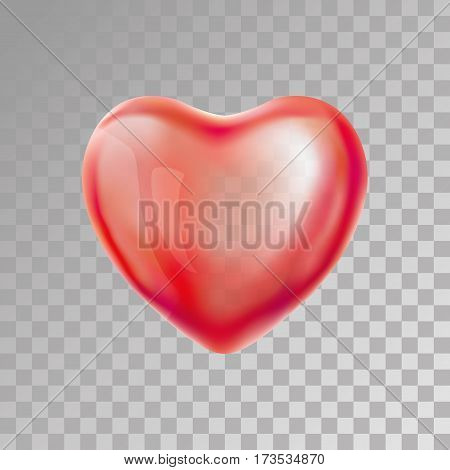 Heart Red transparent balloon on background. Frosted party balloons for event design. Balloons isolated in the air. Party decorations for birthday, anniversary, celebration. Shine transparent balloon.