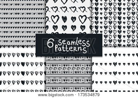 Doodle seamless pattern set with hearts. Six sketchy vector valentines day black and white backgrounds.