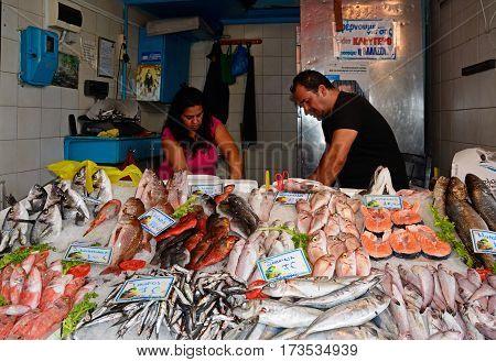 HERAKLION, CRETE - SEPTEMBER 19, 2016 - Fresh fish stall at the food market in the city centre Heraklion Crete Greece Europe, September 19, 2016.