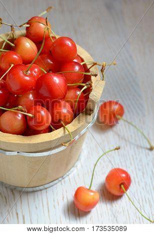 Fresh cherries in small bucket, close up