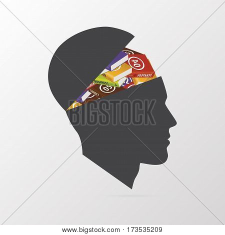 Human brain with books. Education concept. Vector illustration.