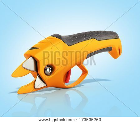 Garden Pruner 3D Render On Blue Background