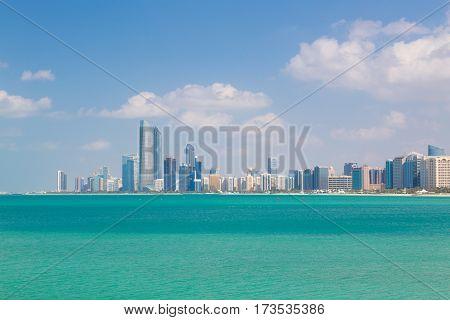 Abu Dhabi city skyline, United Arab Emirates.