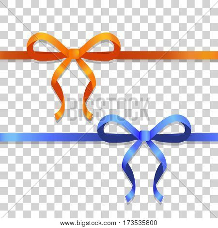 Illustration of two ribbons with bows. Orange and blue narrow long lines with bright bows. Two bobs with two narrow petals, with long tails. Simple cartoon design. Front view. Flat style. Vector