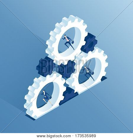 Isometric business people run inside the gears and thereby causing the mechanism to work. Businessmen running inside cogwheels thereby rotating them. Business concept teamwork and the system