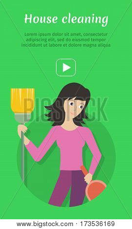 Cleaning service advertisement card. Woman member of cleaning service staff with dustpan and broom. Worker of cleaning company. Successful cleaning business company poster. Lady housekeeper. Vector