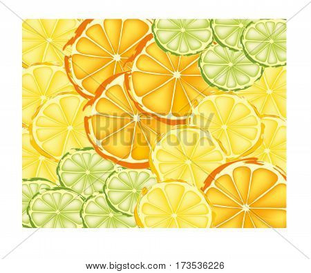 Abstract slices of lemons, limes, and oranges