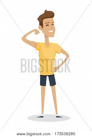 Young handsome boy show his biceps arm. Smiling muscular athlete in flat. Young boy in front shows a trained biceps. Isolated vector illustration on white background