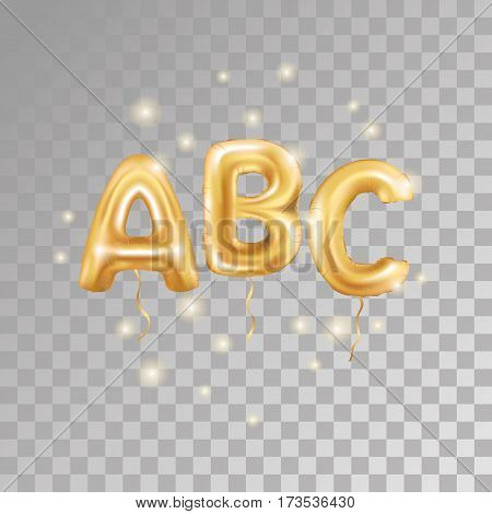 ABC gold letter balloons on transparent background. Golden alphabet balloon logotype, icon. Metallic Gold ABC Balloons. Text for children's reading, hornbook, Letter, holiday, birthday, celebration.