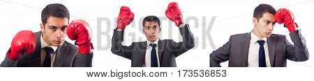 Young businessman with box gloves isolated on white