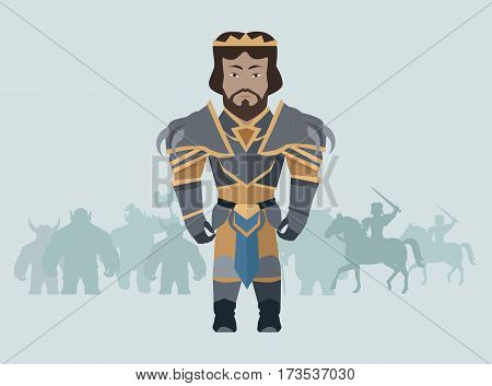 Game object of knight in steel medieval armor with crown. Character stand in front. Stylized fantasy characters. Game object in flat design on blue game background. Vector illustration.