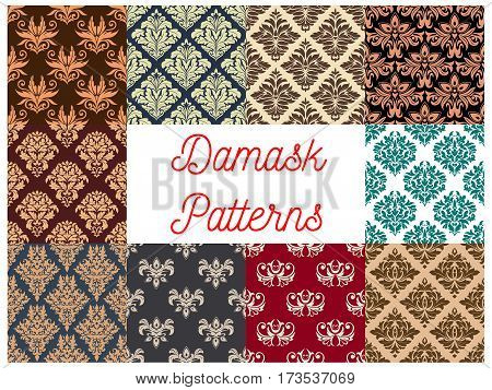 Damask floral backgrounds set. Vector flowery seamless decoration of ornate decorative flowers with flourish luxury ornament, flowery motif tiles