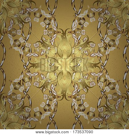 Metal with floral pattern. Yellow background with golden elements. Golden pattern. Golden floral ornament brocade textile pattern.