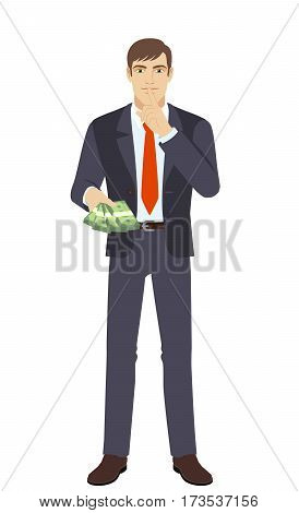 Businessman with money making hush sign. Full length portrait of businessman in a flat style. Vector illustration.