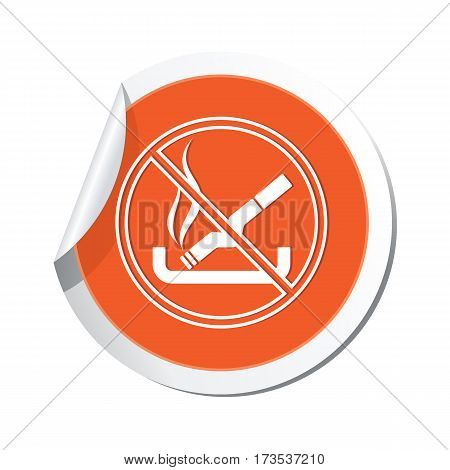 Orange sticker with no smoking sign icon