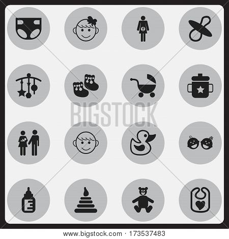 Set Of 16 Editable Kid Icons. Includes Symbols Such As Nappy, Teddy, Lineage And More. Can Be Used For Web, Mobile, UI And Infographic Design.