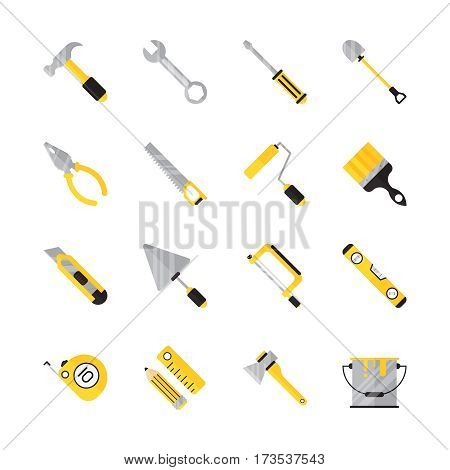 Construction tool flat icon set. Collection of  high quality color elements for web design or mobile app. Isolated repair tool on white background. Building tool flat icon.