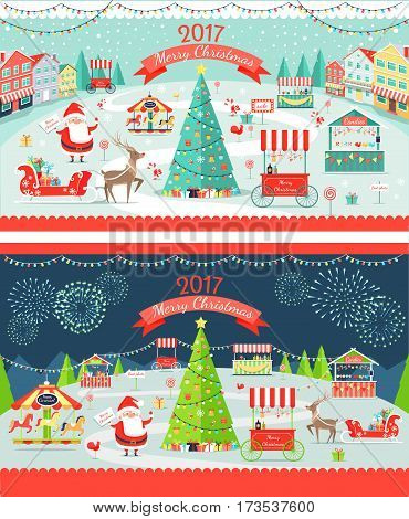 Christmas market day and night panoramic vector illustration. Merry Christmas and Happy New Year greeting card design. Xmas tree, santa, deer and sledges, shops and carrousels. Big sale. Firework