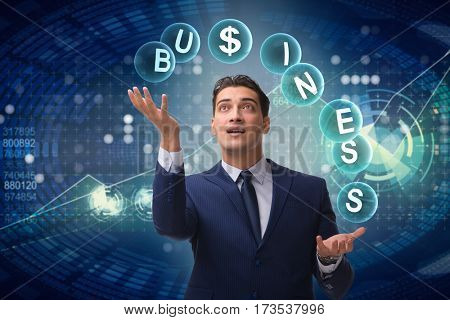 Businessman juggling between various priorities in business