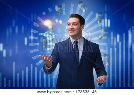 Businessman juggling lightbulbs in new idea concept