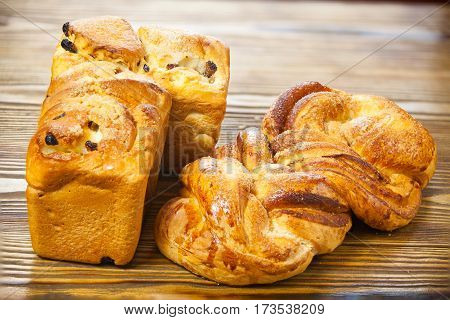 Hot Bread Isolated On Wooden Background