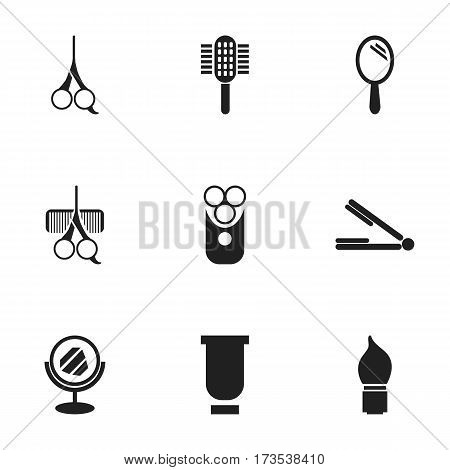 Set Of 9 Editable Coiffeur Icons. Includes Symbols Such As Reflector, Cut Tool, Cutter Apparatus And More. Can Be Used For Web, Mobile, UI And Infographic Design.