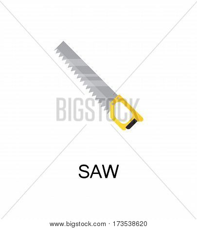 Saw flat icon. Single high quality color element for web design or mobile app. Isolated symbol on white background. Construction tool flat icon. Bulding tool vector illustration.