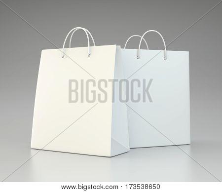 blank shopping paper bags set. 3d rendering