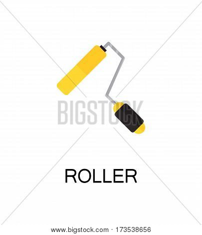 Roller flat icon. Single high quality color element for web design or mobile app. Isolated symbol on white background. Construction tool flat icon. Bulding tool vector illustration.