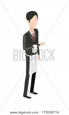Restaurant. Full length portrait of waiter holding towel on bent arm. Isolated brunet man. Hasher wearing black classical suit and shoes with red tie and long white apron on waist. Flat design. Vector