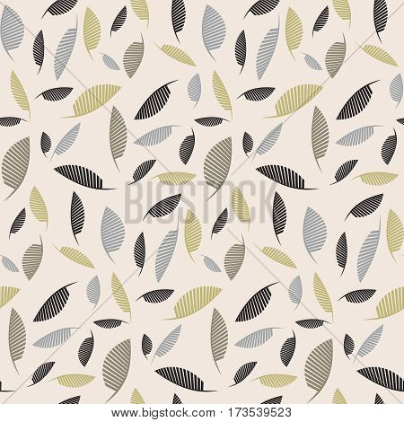 Abstract falling feathers or leaves. Vector seamless pattern