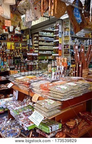 HERAKLION, CRETE - SEPTEMBER 19, 2016 - Herbs and spices for sale at a city centre shop along Odos 1821 Heraklion Crete Greece Europe, September 19, 2016.