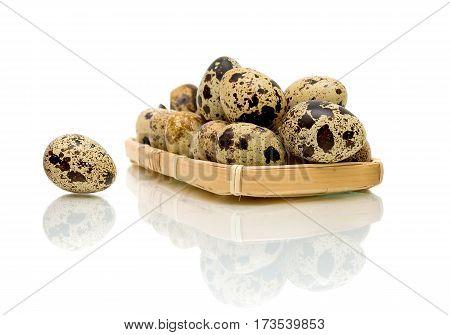 quail eggs on a white background with reflection. horizontal photo.