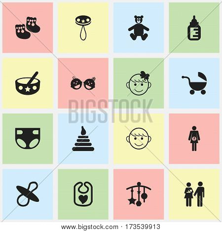Set Of 16 Editable Infant Icons. Includes Symbols Such As Teddy, Nursing Bottle, Lineage And More. Can Be Used For Web, Mobile, UI And Infographic Design.