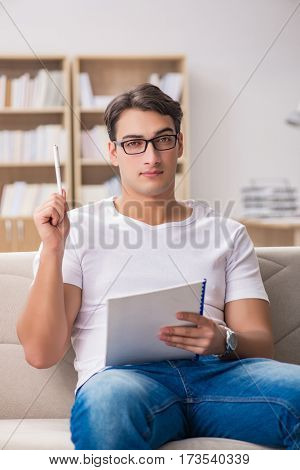 Man working sitting in couch sofa