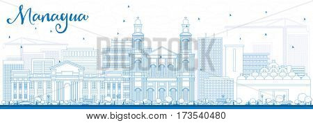 Outline Managua Skyline with Blue Buildings. Business Travel and Tourism Concept with Modern Architecture. Image for Presentation Banner Placard and Web Site.