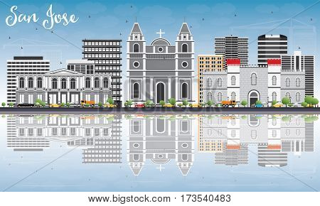 San Jose Skyline with Gray Buildings, Blue Sky and Reflections. Business Travel and Tourism Concept with Modern Architecture. Image for Presentation Banner Placard and Web Site.
